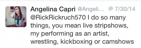 Catfish and Peaches? Introducing... Angelina Capri -- tweets
