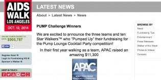 APAC Wins AIDS Walk Los Angeles 'PUMP' Fundraising Challenge