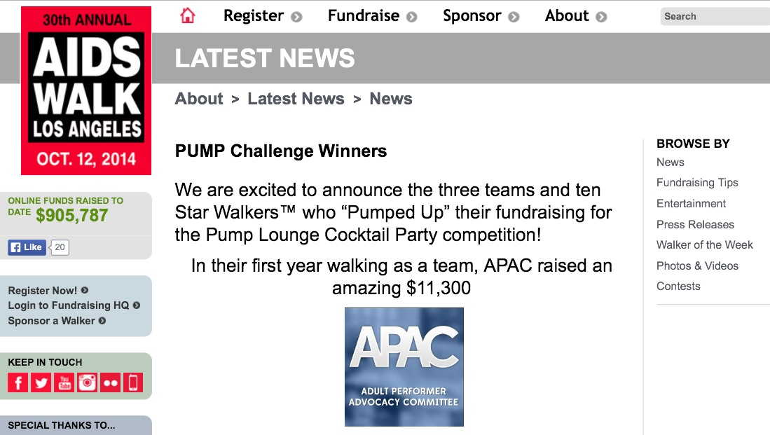 APAC Wins AIDS Walk Los Angeles 'PUMP' Fundraising Challenge
