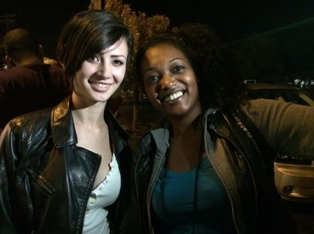 Sasha Pain (L) joins the protests in Ferguson with friend Jessica Bella Hollie.