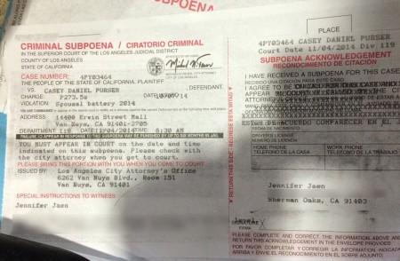 Jaen's subpoena for the November 4th court date