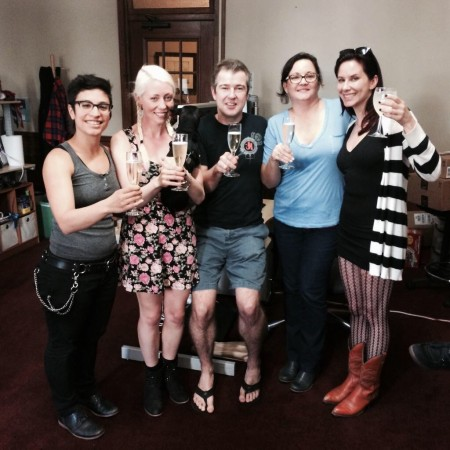 A celebratory toast as AB 1576 goes down in flames: Fivestar, Lorelei Lee, Peter Acworth, Karen Tynan, Maitresse Madeline -- August 14, 2014