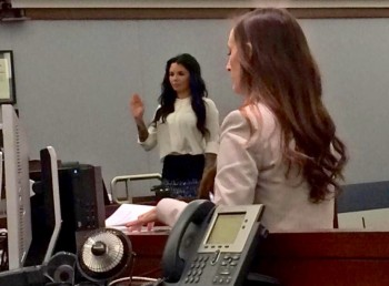 Christy Mack is sworn in