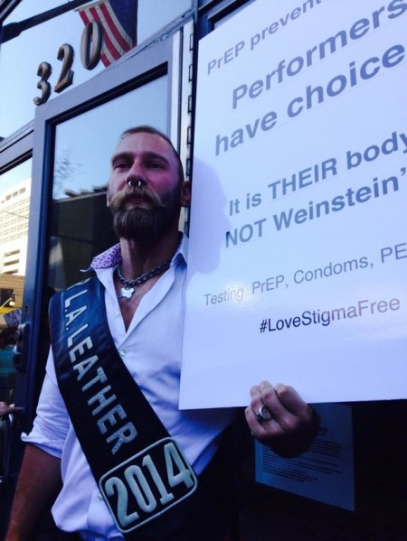 "Eric Paul Leue crashes the protest. ""Eric Paul Leue said Wed that the #AHF protest for condoms in porn production won't protect adult performers."" (Susan Abram - LA Daily News."