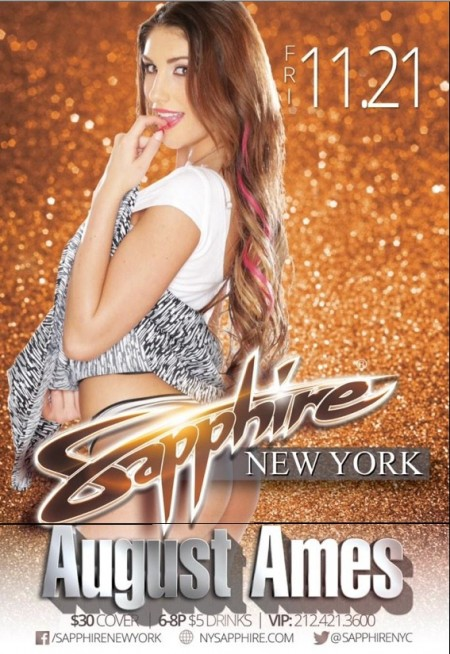 August in November: Adult Star August Ames Headlines Sapphire NYC This Friday