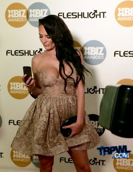 SnapChat time: Alektra Blue, on the red carpet of the 2015 XBiz Awards. Photo by Michael Whiteacre