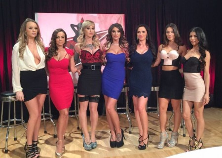 The DP Star competition's top six, at the outset of Saturday's live show: Alexis Adams, Abigail Mac, Kleio Valentien, August Ames, Host Nikki Benz, Eva Lovia, and Veronica Rodriguez