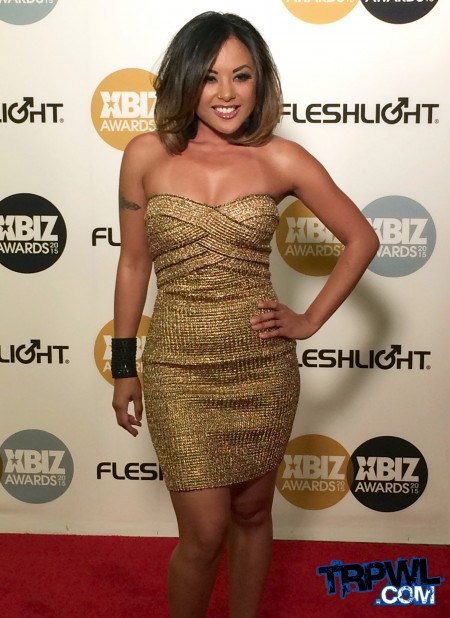 Kaylani Lei on the red carpet of the 2015 XBiz Awards in Los Angeles. Photo by Michael Whiteacre for TRPWL.com