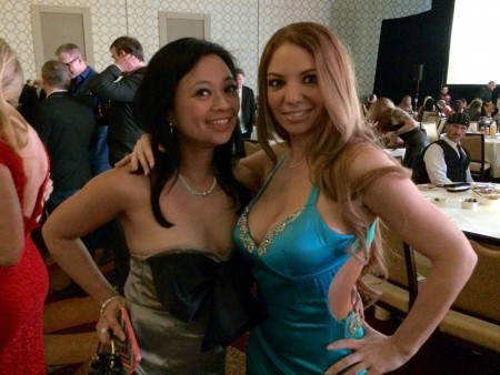 Lucky Starr and Kiki Daire at the 2015 XBiz Awards in Los Angeles