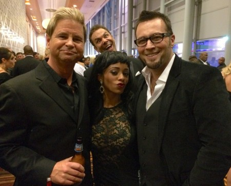 Will Ryder, Anya Ivy, Axel Braun, and photobomber Steven St. Croix at the 2015 XBiz Awards in Los Angeles