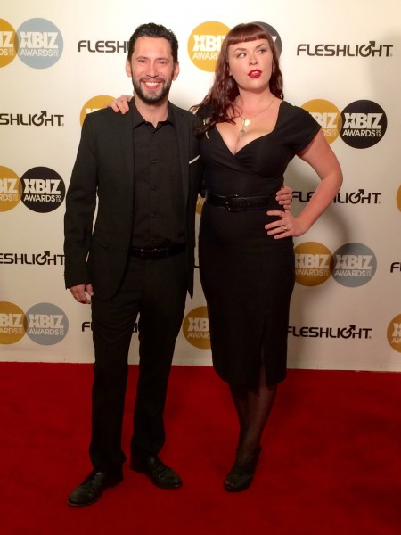 Tommy Pistol and Nikki Swarm at the 2015 XBiz Awards in Los Angeles