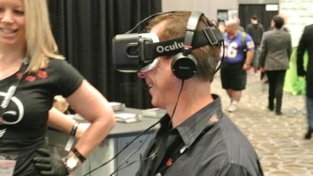 Chris Morris | CNBC An attendee at the 2015 Adult Entertainment Expo in Las Vegas demos the Oculus virtual reality glasses.