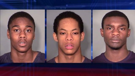 From left to right, defendants Casey Franks, Edward London and Qumaire Rainey. (Source: LVMPD)