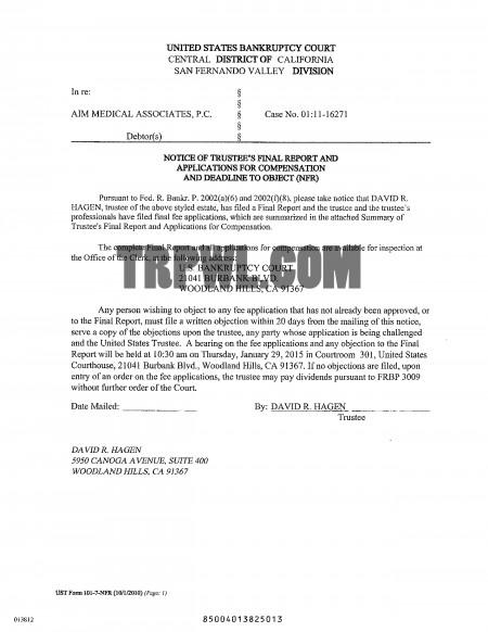Aim final bk(1) The AIM Bankruptcy Filings Finalized Report: Tim Tritch, Desi Foxx Got Nothing