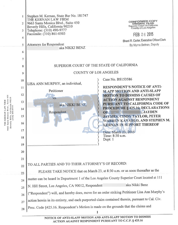 READ Nikki Benz's Stinging Anti-SLAPP Motion To Dismiss Lisa Ann's 'Frivolous' Legal Action -- Notice of anti-SLAPP Motion p.1