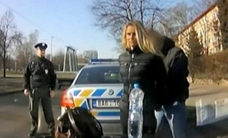 Laura Crystal is arrested by police in Prague after leading officers on a high speed car chase through the Czech capital