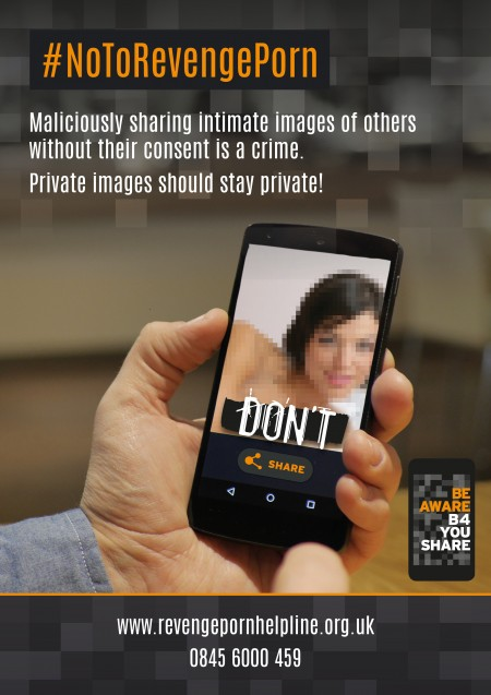 UK Ministry of Justice 'Be Aware B4 You Share' campaign highlights new 'revenge porn' offense