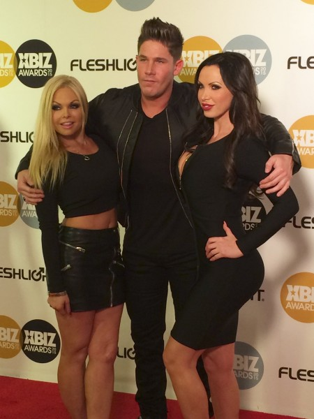 Jesse Jane, Todd Bowman & Nikki Benz at the XBiz Awards, January 15, 2015 in Los Angeles. Photo: Michael Whiteacre