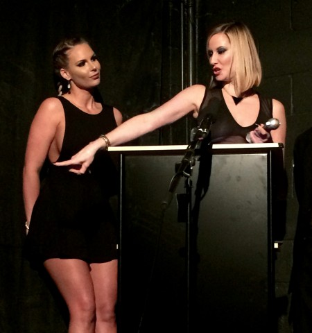 Presenter Phoenix Marie (left) with Maitresse Madeline at the 2015 Femdom Awards. Photo: Michael Whiteacre for TRPWL