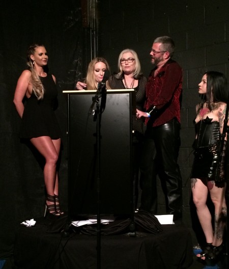 Phoenix Marie and Aiden Starr with winners Dee Severe and Jimmy Broadway, and trophy girl Necro Nikki at the 2015 Femdom Awards
