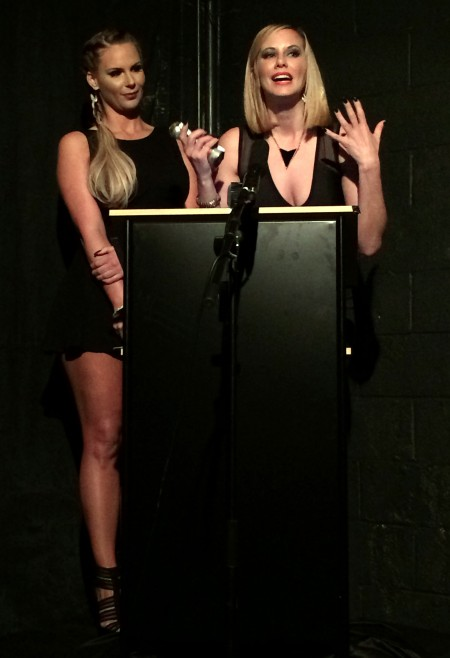 Presenter Phoenix Marie with Domme of the Year winner Maitresse Madeline, PHOTO: Michael Whiteacre for TRPWL