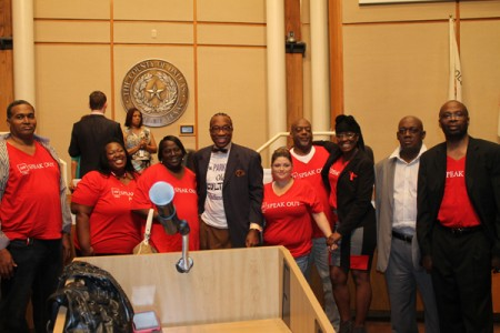 Patients and staff of AIDS Healthcare Foundation in Dallas with Dallas County Commissioner John Wiley Price, center