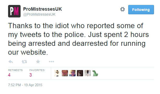 Webmaster of UK Domme Directory 'Professional Mistresses' Arrested 'For Tweeting'!