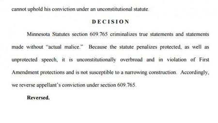 Minnesota court strikes down criminal defamation law in overturning conviction of Craigslist revenge poster