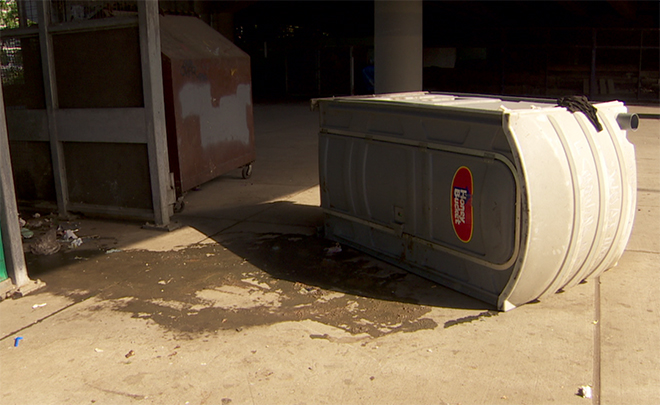 Homeless witnesses push over Port-a-Potty with man masturbating inside