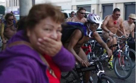 A man who got naked for the World Naked Bike Ride (WNBR), at the weekend, had to be removed after he got a little bit excited.
