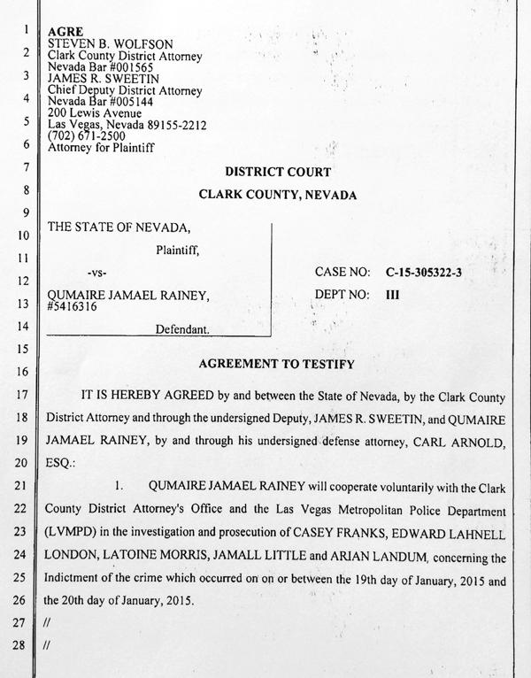 Rainey Agmt to Testify 1