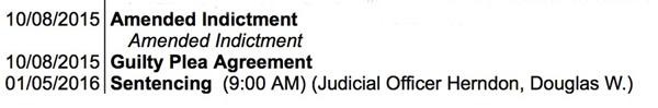 Rainey guilty plea -- court register