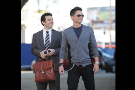 """Fred Savage and Rob Lowe avoided being expelled from Marshall High when the school district allowed filming of their new show, """"The Grinder,"""" to continue. (Ray Mickshaw / TNS)"""