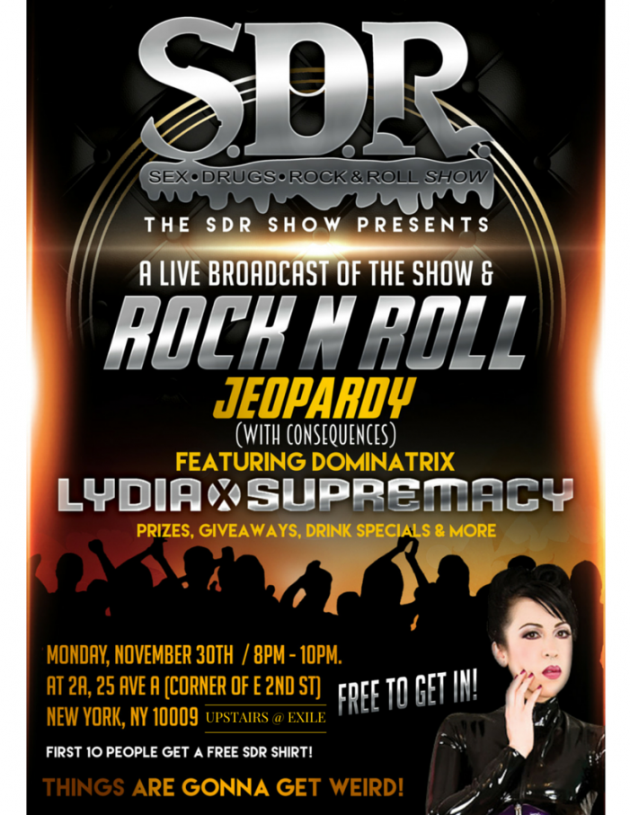 SDR Show Presents 'Rock n Roll Jeopardy (With Consequences)' November 30