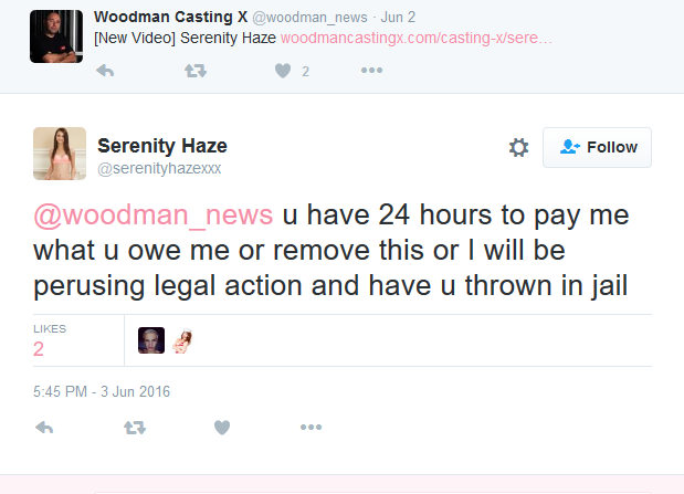 Serenity_Haze_on_Twitter_@woodman_news_u_have_24_hours_to_pay_me_what_u_owe_me_or_remove_this_or_I_will_be_perusing_legal_action_and_have_u_thrown_in_jail_-_2016-06-04_10.07.50