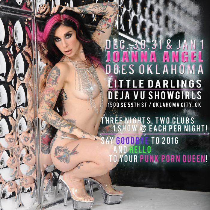 Joanna Angel Says Good-Bye to 2016 with a Trio of New Year's Eve Parties in OKC