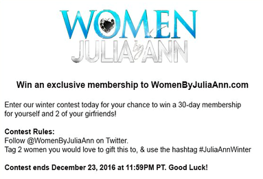 Julia Ann Hosts Holiday Twitter Contest  for WomenByJuliaAnn.com