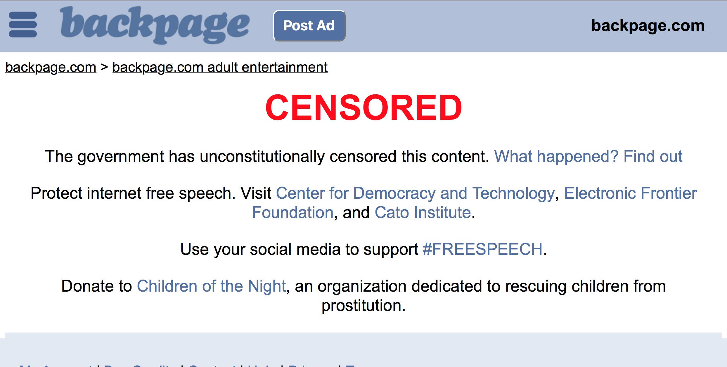 Backpage.com Removes Adult Content Due to Unconstitutional Government Censorship....Vows to Fight First Amendment Battles
