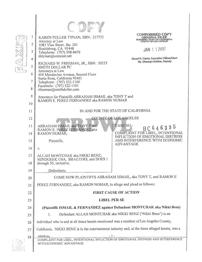 Full Copy Of The Tony T Defamation Lawsuit Against Nikki Benz
