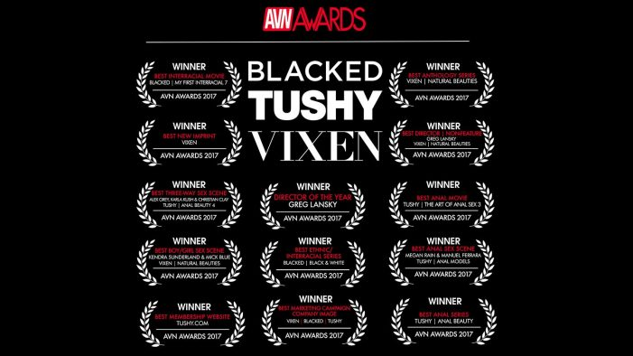 Greg Lansky, Blacked, Tushy, & Vixen Take Home 13 AVN Awards for 2017!
