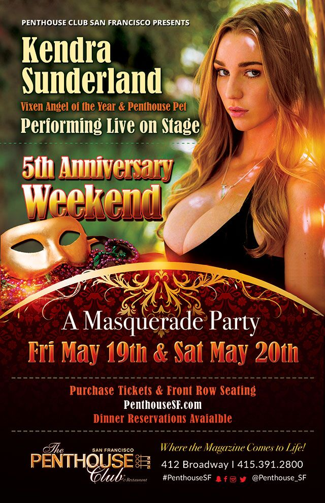 Kendra Sunderland to Host Penthouse San Francisco 5th Anniversary Weekend