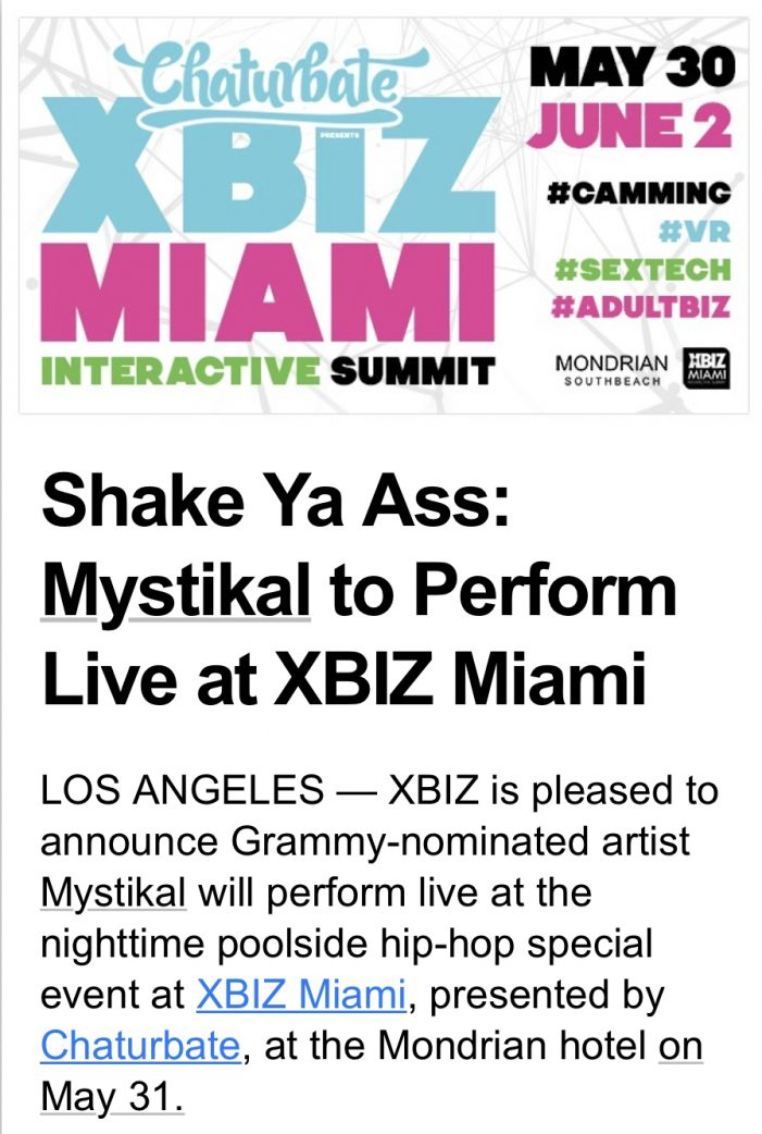 Convicted Sex Offender Mystikal to Perform Live at XBIZ Miami UPDATED: XBIZ Cancels Performance