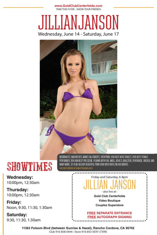 Jillian Janson Headlines Gold Club Centerfolds June 14th – 17th!