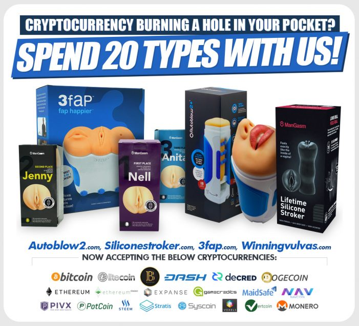 Autoblow 2 Inventor Now Accepts 20 Crypto Currencies on Network of Sex Toy Websites