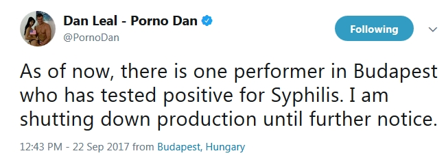 Porno Dan Announces Production Shutdown Due To Possible Syphilis Outbreak