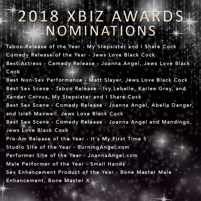 Joanna Angel, BurningAngel Entertainment Land 12 XBIZ Awards Nominations