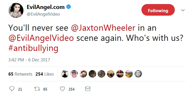 Evil Angel No Lists Jaxton Wheeler From It's Sets