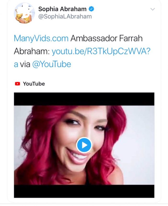 MTV Star Farrah Abraham Uses Pre-Teen Daughter To Promote Porn Site ManyVids
