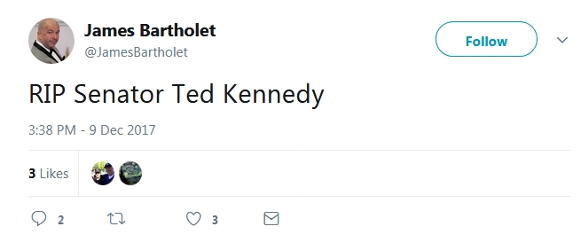 Breaking: PR Guru, Humanitarian, and Political Expert James Bartholet Visibly Shaken By The Passing Of Ted Kennedy