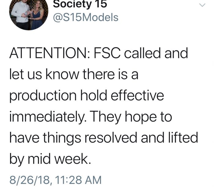Breaking: Production Hold Called By FSC